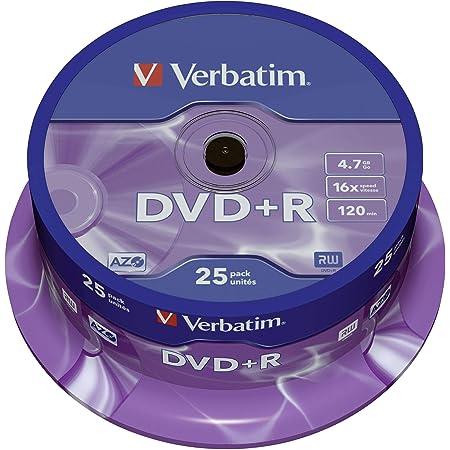 Verbatim 43500 - DVD+R (pack 25 unidades), color plateado