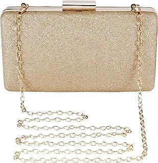 BAIGIO Abendtasche Damen Glitzernd Clutches Bag Elegant Schultertasche für Hochzeit Party Cocktail (Gold)