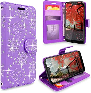 Cellularvilla Pixel 3 XL Case, Luxury Leather Wallet Case Flip Folio [Stand Feature] [Drop Protection] Credit Card Slots Pocket [Magnetic Closure] Cover for Google Pixel 3 XL 2018 (Purple Glitter)