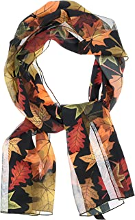 """Women's Silky Feel Scarf Classic Autumn Fall Leaves, 12""""x60"""", Giftboxed"""