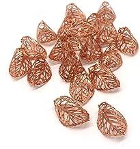 CVHOMEDECO. Rose Gold Metal 3D Leaf Design Decorations Hanging Decorative Leaves Accessories for Home Bedroom Wedding Part...