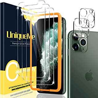 [2+3 Pack] UniqueMe Compatible for iPhone 11 Pro 5.8 inch Tempered Glass Screen Protector and Camera Lens Protector, HD Cl...