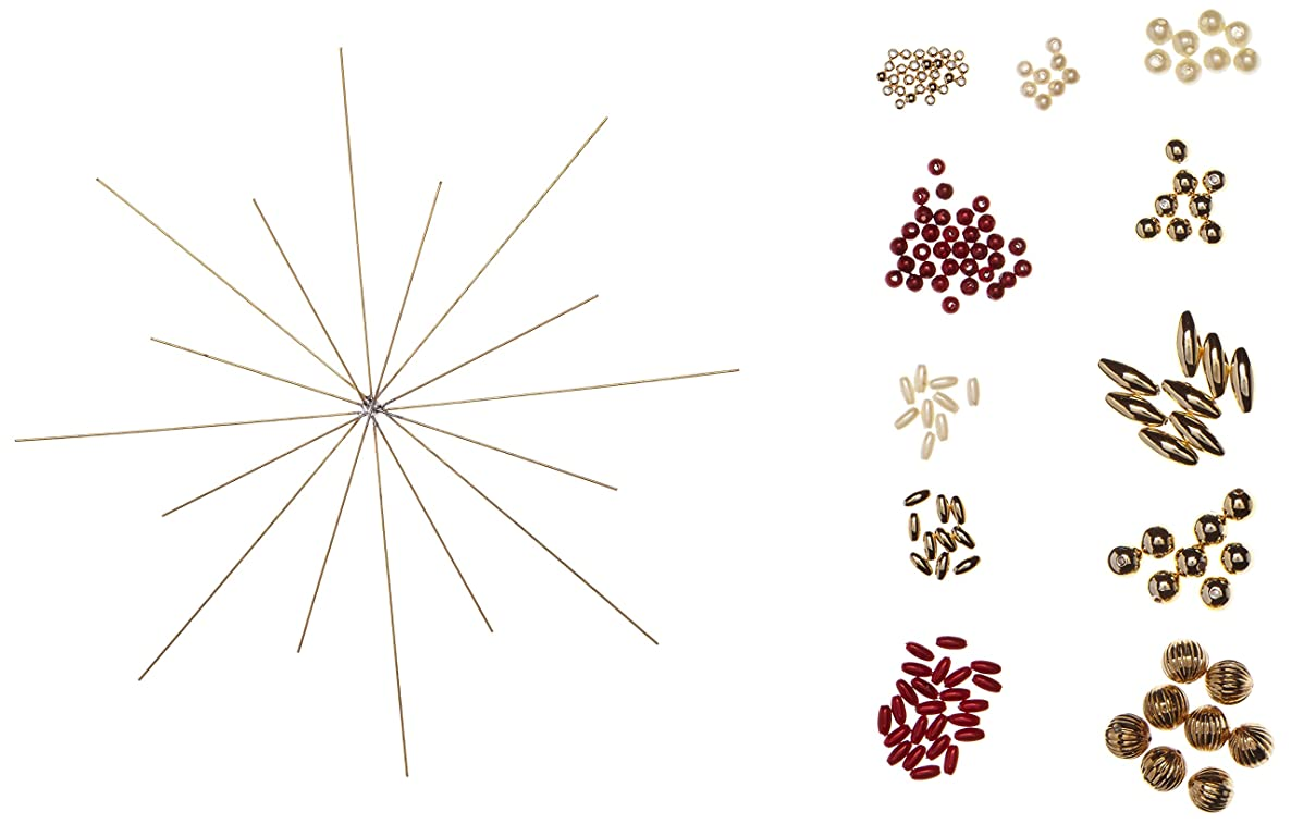 Rayher CK:Wire Stars to Thread Beads, Wire/Beads, Classical Red, 19 x 16 x 1 cm