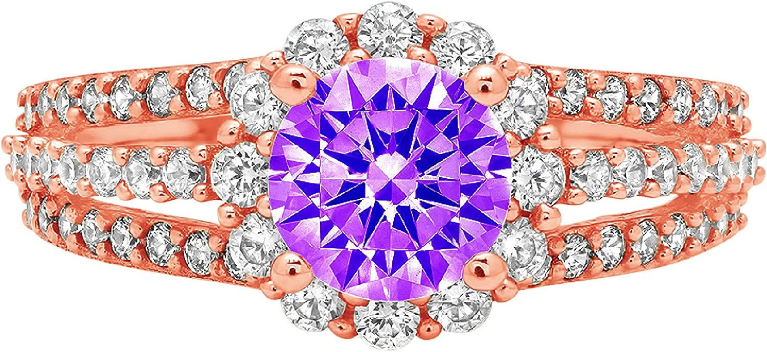 1.98ct Brilliant Round Cut Halo Solitaire Natural Purple Amethyst Gem Stone Ideal VVS1 Engagement Promise Anniversary Bridal Wedding with accent Ring 14k Pink Rose Gold