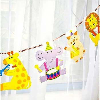 creve ガーランド party かわいい動物がいっぱい! 2m 15枚セット 誕生日 誕生日会 パーティー お部屋飾り 子供部屋 赤ちゃん