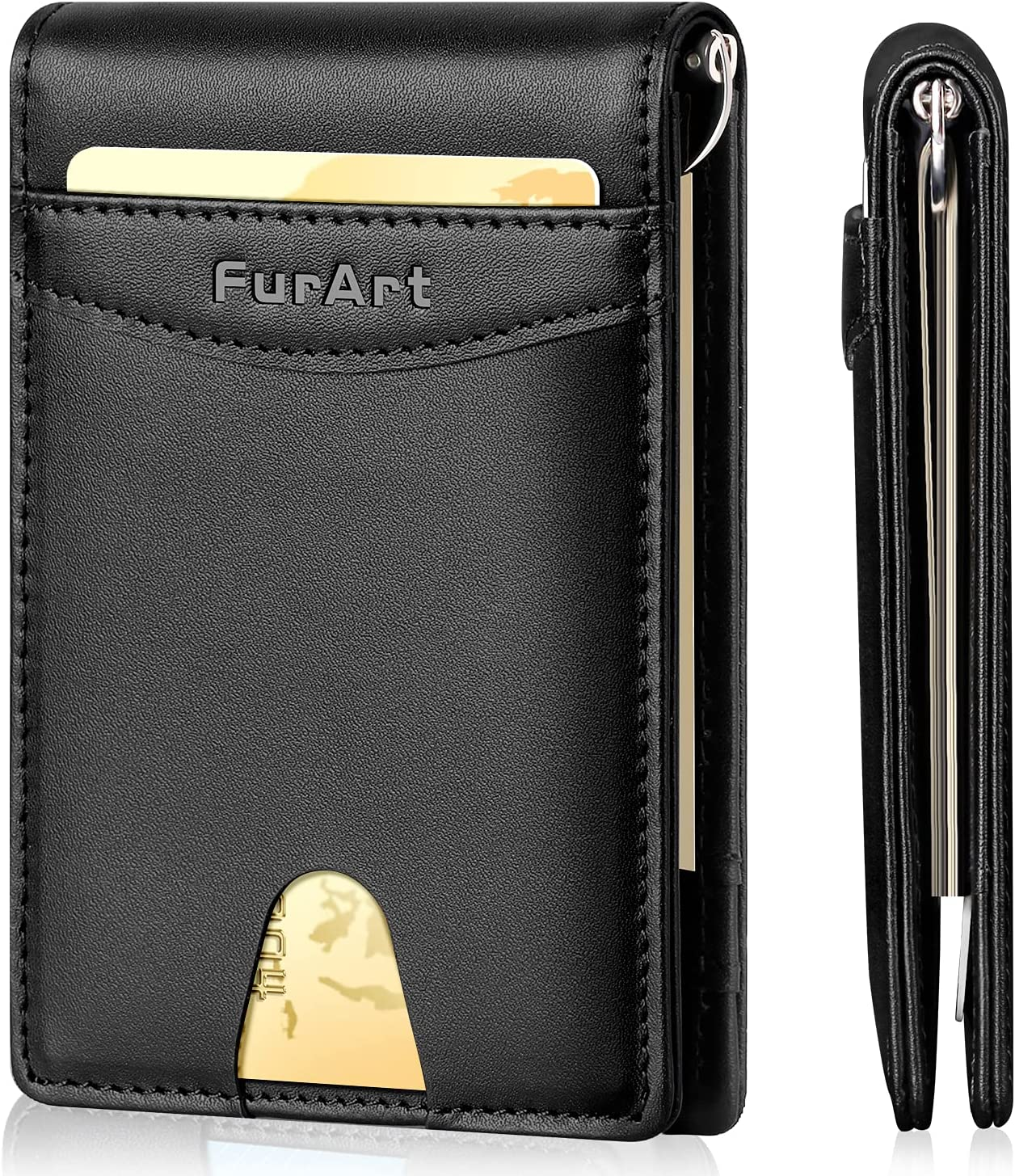 FurArt Leather Mens Bifold Wallet with Money Clip RFID Blocking Slim Front Pocket Wallets for Men