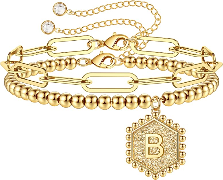 Gold Initial Bracelets for Women, 14K Gold Plated Beaded Bracelets for Women Teen Girls Hexagon Pendant Personalized Gold Layered Paperclip Link Chain Bracelets Initial Bracelet Dainty Initial Jewelry
