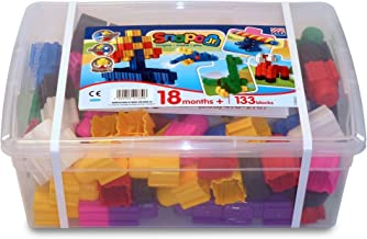 "product image for Jr. Builder Set - 133 Piece Multi Color Junior Sized Blocks in Tote Box, 14.85"" Height, 5.6"" Wide, 10.1"" Length"