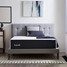 LUCID 14 Inch Memory Foam Medium Feel – Gel Infusion-Hypoallergenic Bamboo Charcoal – Breathable Cover Bed Mattress Conventional, Queen, White
