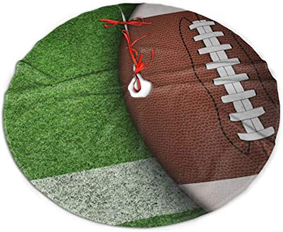 MINIOZE American Football Turf Grass Funny Sport Green Themed 30 36 48 Inch Big Christmas Plush Tree Skirt Carpet Mat Rugs Cover Large Round Pad Classic Xmas Party Favors Ornament Decoration