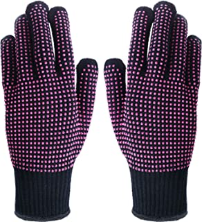 TecUnite 2 Pieces Heat Resistant Gloves Silicone Non-slip Gloves for Hair Styling Curling Iron, Fit All Hand Sizes (Rose red silicone dots)