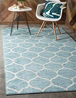 Unique Loom Trellis Frieze Collection Lattice Moroccan Geometric Modern Light Blue Area Rug (5' 0 x 8' 0)