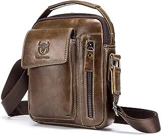 Mens Shoulder Bag,Genuine Leather Messenger Bags for Men Crossbody Purse Casual Vintage Satchel Handbag (Brown)