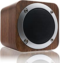 LEFON Wooden Wireless Speaker with FM Radio 1800mAh Rechargable Battery Support AUX TF Card MP3 Player (Black Walnut)