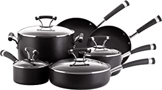 Circulon 82376 Contempo Hard Anodized Nonstick Cookware Pots and Pans Set, 10 Piece, Black