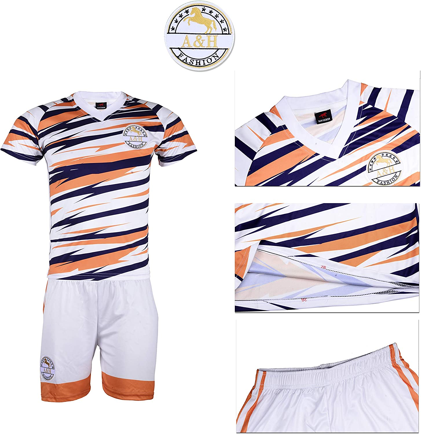 A/&H Fashion Boys Kids Football Soccer Jersey Kit Sportswear Orange White ZigZag TShirt Shorts