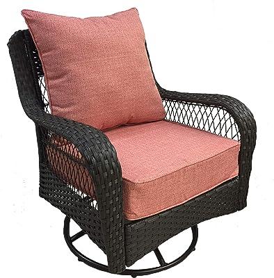 Magnificent Amazon Com Rattan Wicker Swivel Rocking Round Papasan Chair Dailytribune Chair Design For Home Dailytribuneorg