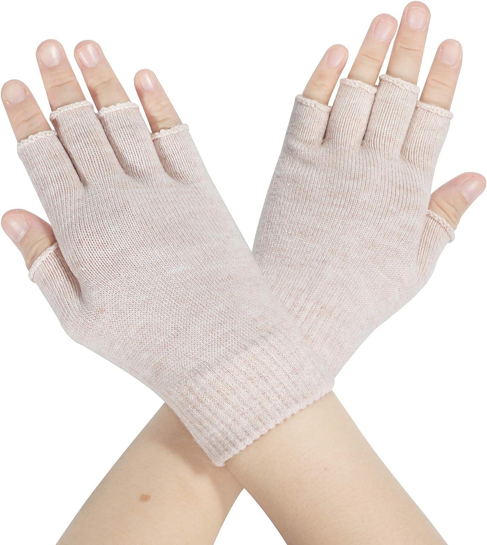 ZLYC Women Winter Fingerless Gloves Wool Knit Half Finger Stretch Glove