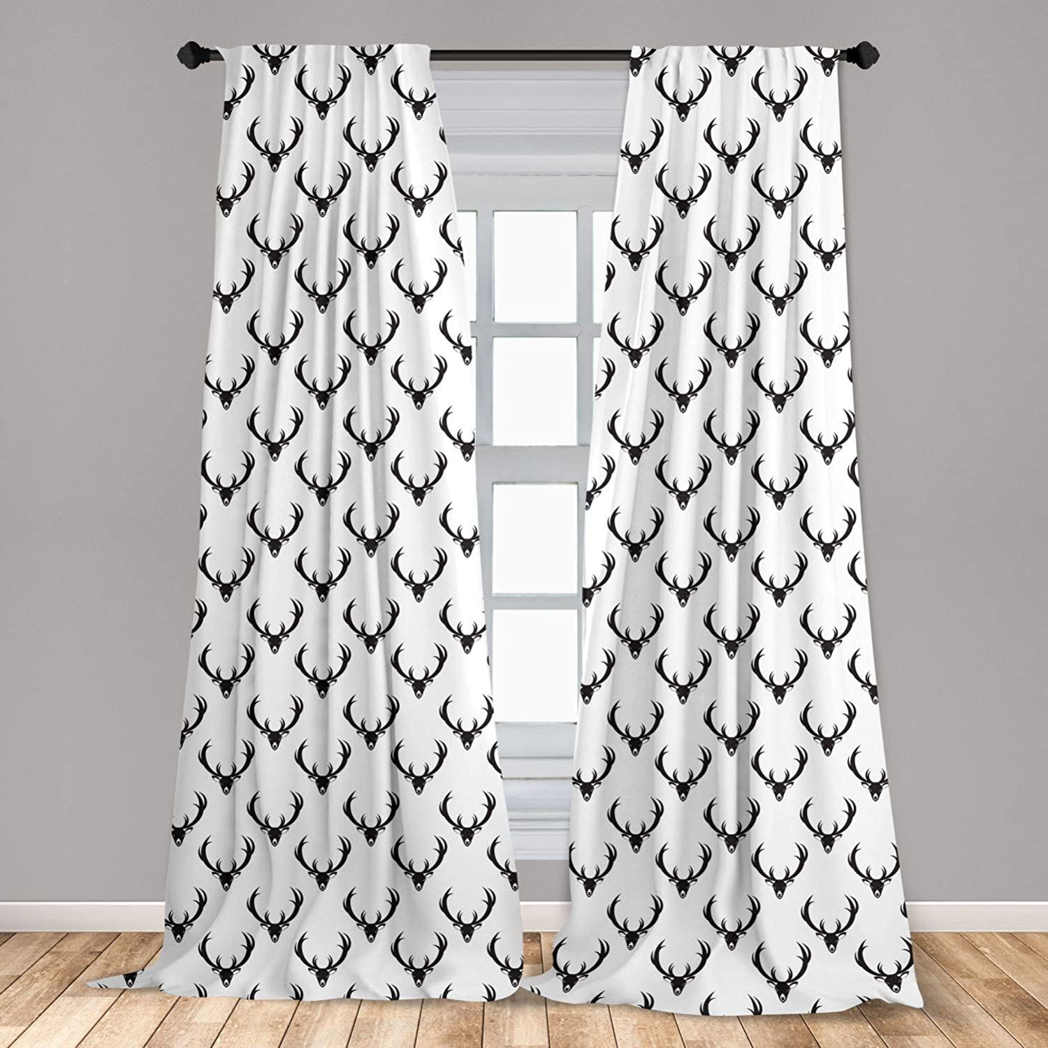 Lunarable Antlers Window Curtains, Monochrome Deer with Horn Rustic Country Life Characters Retro Graphic Design, Lightweight Decorative Panels Set of 2 with Rod Pocket, 56
