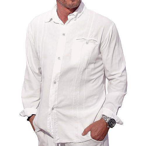 0ad5bfa5 M&B USA Cotton White Long-Sleeve Button Loop Closure Pocket Organic Embroidered  Button Down Shirt
