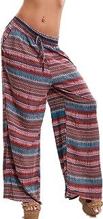 e5370e4e251e35 Toocool - Pantaloni Donna Palazzo Righe Multicolor Cavallo Basso Elastico  Sexy Nuovi V-515