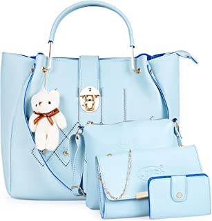 JFC Girls' & Women's Handbag with Sling Bag (Set of 2) (ST-003PE_Grey)