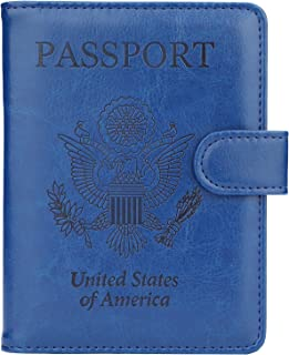 GDTK Leather Passport Holder Cover Case RFID Blocking Travel Wallet (Navy Blue)