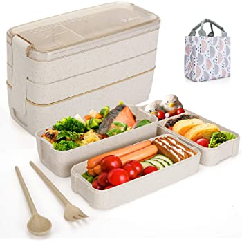 Aitsite Bento Box Japanese Lunch Box with Dividers 900 ml - Leakproof Eco lunchbox for Kids and Adults with Lunch Bag- BPA FREE(Beige)