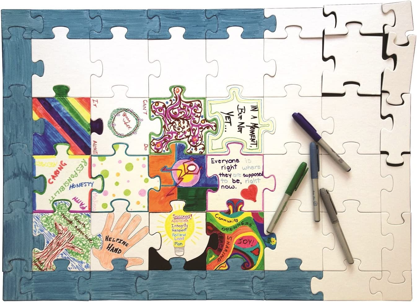 """Hygloss Products Blank Community Puzzle - Fun Group Activity - Great for Parties, Weddings, Classroom, Office & More - 20"""" x 28"""" Inches - 48 White Puzzle Pieces - 1 Pack"""