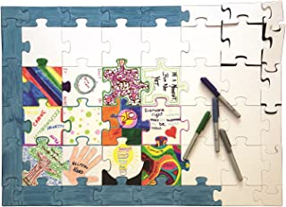 "Hygloss Products Blank Community Puzzle - Fun Group Activity - Great for Parties, Weddings, Classroom, Office & More - 20"" x 28"" Inches - 48 White Puzzle Pieces - 1 Pack"