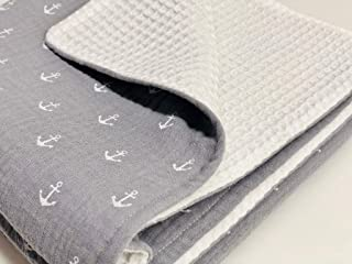Super soft Grey/White Anchor Organic Muslin and Waffle blanket for newborn Size: 40x27 inches