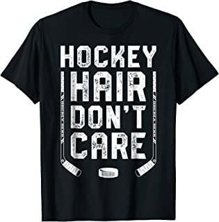 Hockey Hair Don't Care T shirt Women Girls Ice Puck Player
