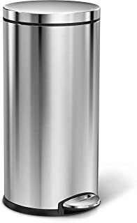 simplehuman 35 Liter / 9 Gallon Round Step Trash Can, Brushed Stainless Steel