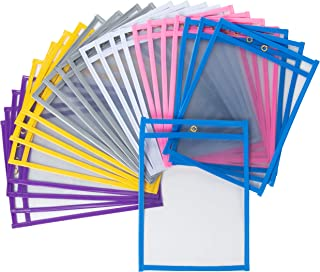 Juvale 24-Pack Reusable Plastic Dry Erase Pockets for Kids, Teachers, School, and Classroom Use, Assorted Colors, Fits 6 x 9 Paper