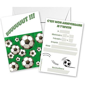 Lot De 5 Cartes D Invitation Anniversaire Theme Foot Amazon Fr Fournitures De Bureau
