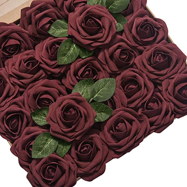 Ling S Moment Artificial Flowers Roses 50pcs Real Looking Burgundy Fake Roses W Stem For DIY Wedding Bouquets Centerpieces Arrangements Party Baby Shower Home Decorations