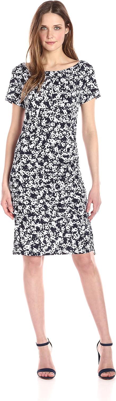 Jones New York Womens Short Sleeve Print Side Draped Shirred Dress