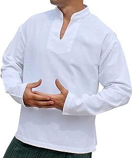 Raan Pah Muang 男式长袖保暖泰国棉休闲中式衣领