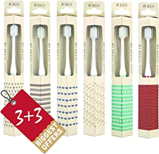 CLIO Designer Toothbrush with Ultra Soft Bristle, Tapered, For Sensitive Gums, Compact Size Head, Non-Nylon - 6pack(Color:Random)