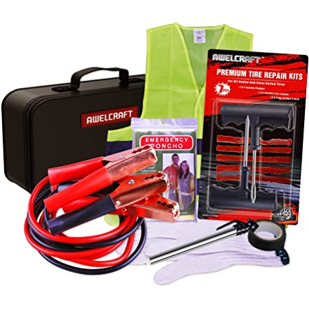 AWELCRAFT Roadside Emergency car Kit – Heavy Duty Car Emergency Kit – Jumper Cables, Tire Repair Kit, Tire Pressure Gauge, Raincoat, etc – Car Kit for Women and Men