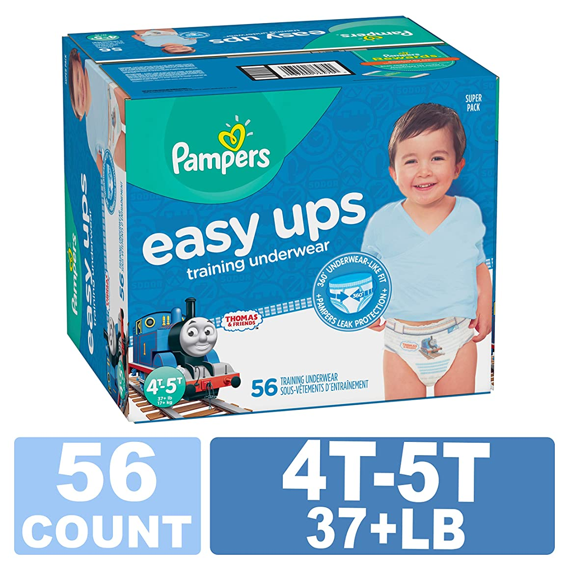Pampers Easy Ups Training Pants Pull On Disposable Diapers for Boys, 4T-5T, 56 Count, SUPER PACK