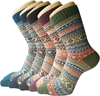 Pack of 5 Womens Thick Knit Warm Casual Wool Crew Winter Socks Mixed Colors 4 Size 5 to 10