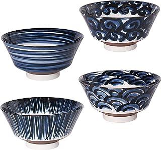 minoru touki Mino Anti-Type Noodle Bowl 4 Pattern Set (Wave Tokusa Vortex.Komasuji)