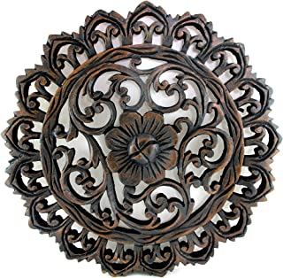 Blue Orchid Round Wood Medallion - Teak Wood Wall Panel - Thailand Wooden Carving - Relief Panel Art - 11.5 Inches (Round Wave Ring)