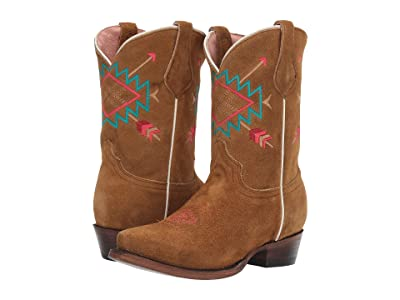Roper Kids Alex (Toddler/Little Kid) (Tan Suede Leather Vamp & Shaft/Aztec Embroidery) Cowboy Boots