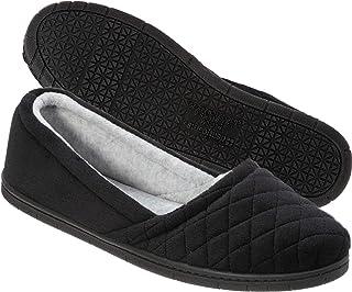 7dfd94c793e Dearfoams Womens Microfiber Velour Espadrille Slippers- Black