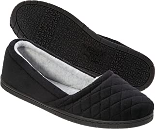 Dearfoams Womens Microfiber Velour Espadrille Slippers- Black