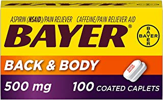 Bayer Back & Body Aspirin 500mg Coated Tablets, Pain Reliever with 32.5mg Caffeine, 100 Count