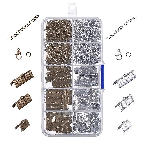 Ruban Bracelets Kit Signet Fermoir pour Homard Fermoirs Pince Ensemble avec Anneaux de Saut et Extenseurs de la Chaîne, 370 Pièces (Multicolore B)