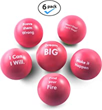 Pure Origins | Motivational Stress Balls | Gift 6 Pack | Fidget Accessory for Stress Relief, Special Needs, Concentration, Anxiety, Motivation, ADHD, ADD, Autism and Team Building (Coral)